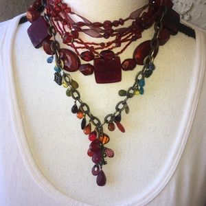 3 Separate Ted and Maroon Glass Necklaces